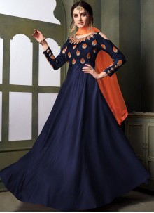 Embroidered Tafeta Silk Trendy Gown