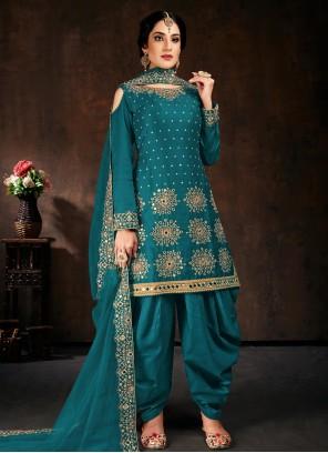 Embroidered Teal Designer Patiala Salwar Kameez