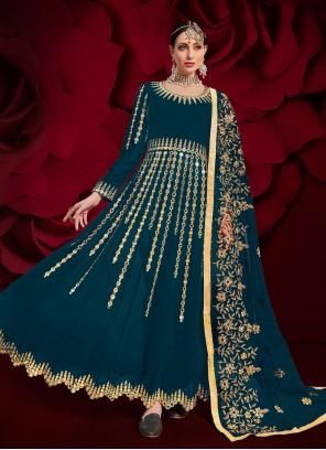 Embroidered Teal Faux Georgette Floor Length Anarkali Suit