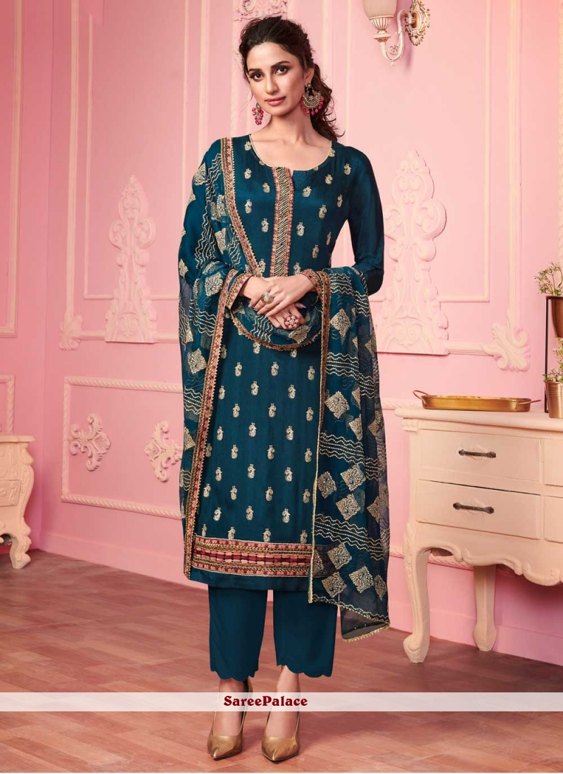 Embroidered Teal Faux Georgette Pant Style Suit