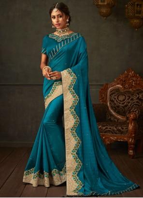 Embroidered Teal Poly Silk Designer Saree