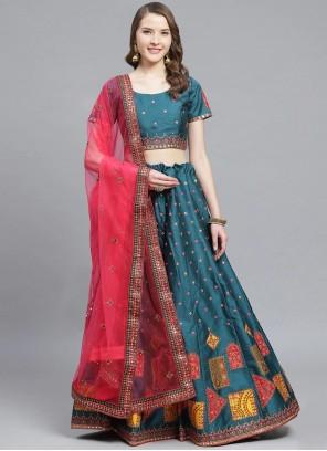 Embroidered Teal Silk Bollywood Lehenga Choli