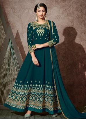 Embroidered Teal Trendy Anarkali Salwar Suit