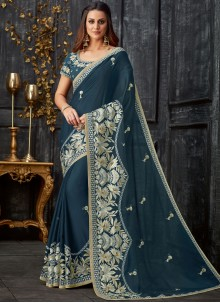 Embroidered Tissue Classic Designer Saree in Green