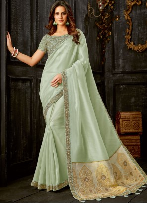 Embroidered Tissue Traditional Designer Saree in Green