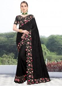 Embroidered Black Designer Saree