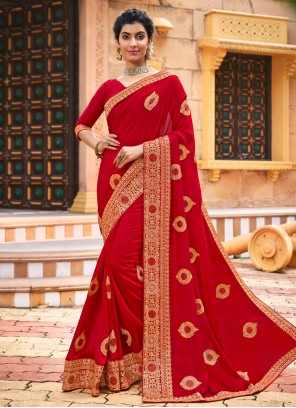 Embroidered Traditional Red Designer Saree