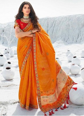 Orange Embroidered Traditional Saree