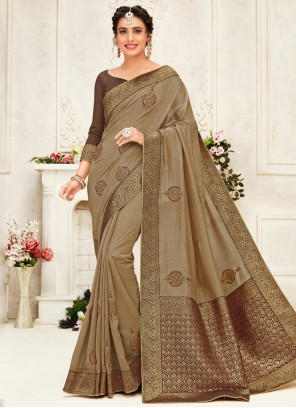Embroidered Traditional Brown Saree
