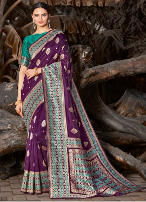 Purple Embroidered Silk Traditional Saree