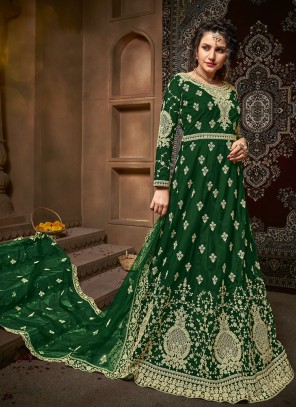 Green Embroidered Trendy Salwar Suit