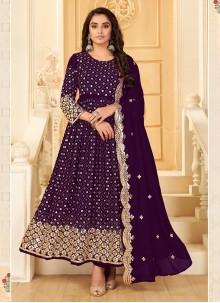 Purple Embroidered Trendy Salwar Suit