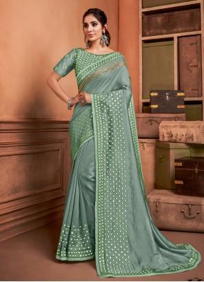 Embroidered Trendy Sea Green Saree
