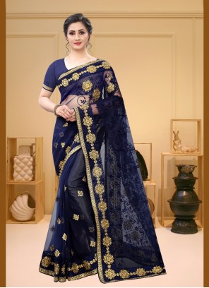Embroidered Navy Blue Trendy Saree