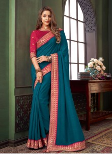 Blue Embroidered Fancy Fabric Trendy Saree