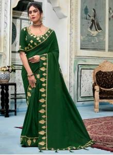 Green Embroidered Silk Trendy Saree