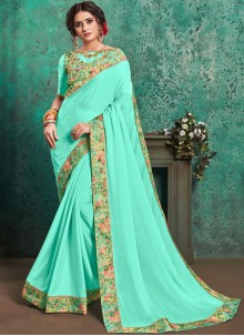 Embroidered Turquoise Faux Georgette Traditional Saree