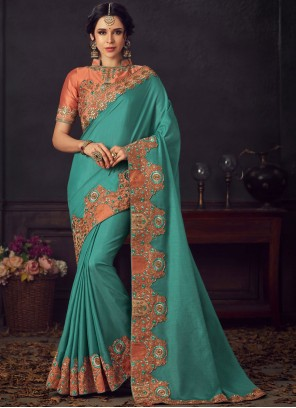 Embroidered Turquoise Poly Silk Traditional Saree