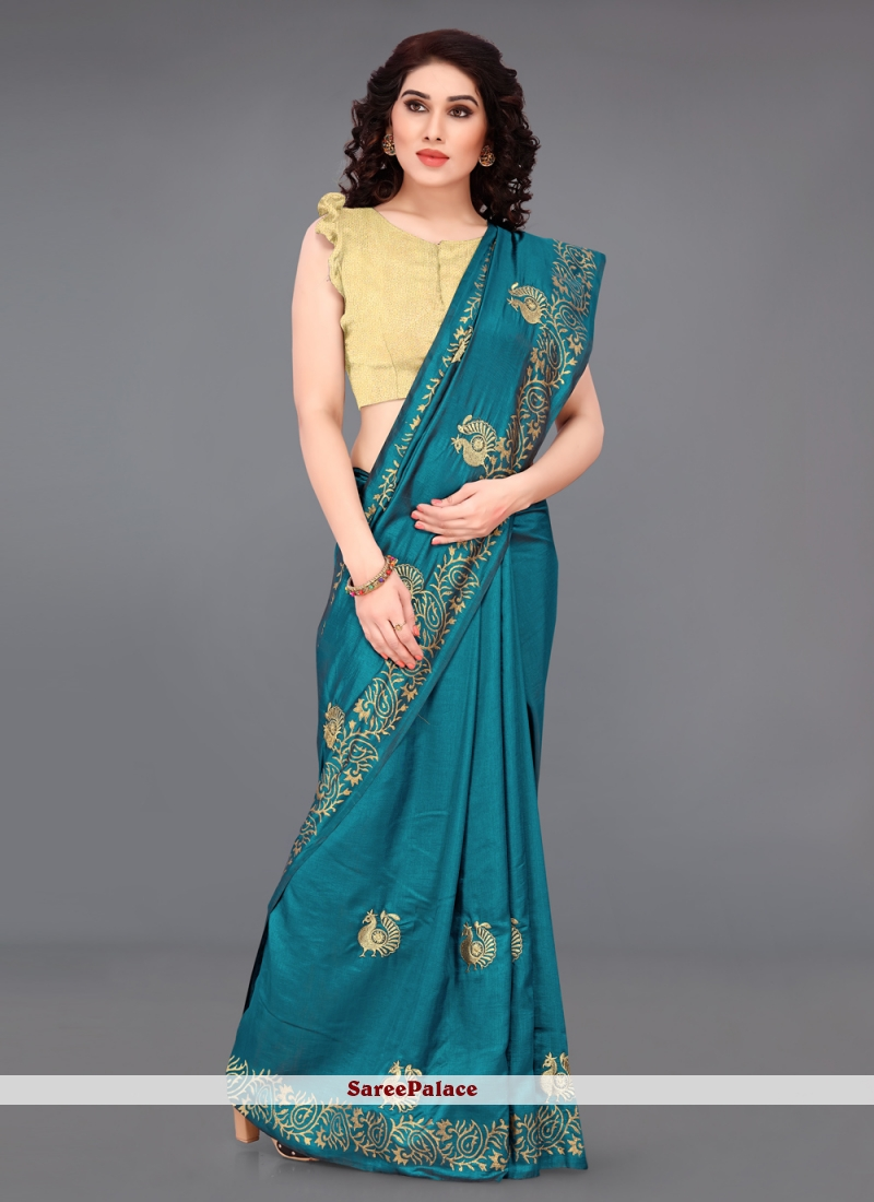Embroidered Turquoise Silk Casual Saree