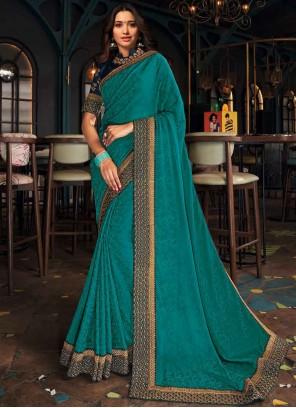 Embroidered Turquoise Tamannaah Bhatia Designer Saree