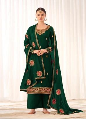Embroidered Tussar Silk Designer Pakistani Suit in Green