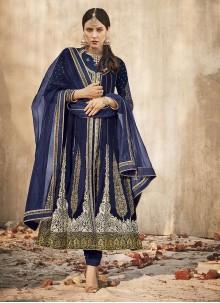 Embroidered Velvet Anarkali Salwar Suit