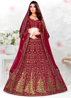 Embroidered Velvet Designer Lehenga Choli