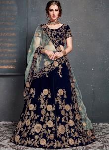Embroidered Velvet Designer Lehenga Choli in Blue