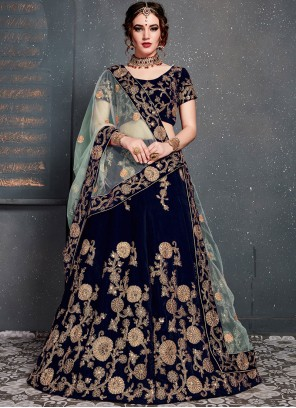 Embroidered Velvet Designer Lehenga Choli in Blue