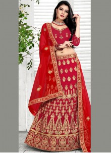 Embroidered Velvet Designer Lehenga Choli in Red