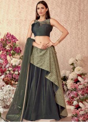 Embroidered Velvet Green Designer Lehenga Choli