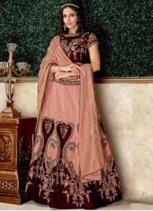 Embroidered Velvet Lehenga Choli