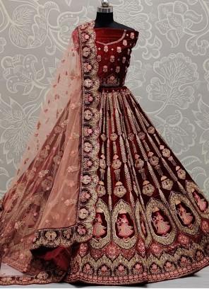 Maroon Embroidered Patch Border Velvet Lehenga Choli