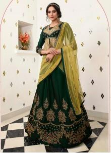 Embroidered Velvet Lehenga Choli in Green