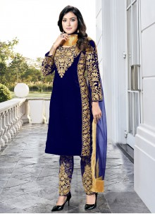 Embroidered Velvet Pant Style Suit in Blue