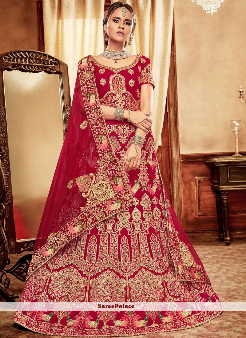Embroidered Velvet Red Lehenga Choli