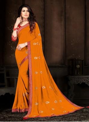 Yellow Embroidered Vichitra Silk Classic Saree