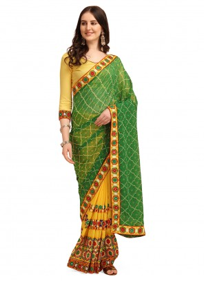 Embroidered Vichitra Silk Green and Yellow Half N Half  Saree