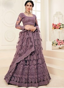 Embroidered Violet A Line Lehenga Choli