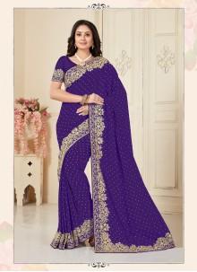 Embroidered Violet Designer Traditional Saree