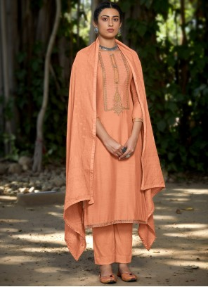 Embroidered Viscose Designer Pakistani Suit in Peach