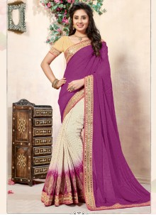 Embroidered Viscose Half N Half  Saree in Off White and Violet