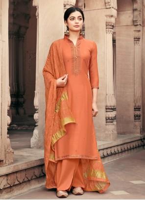 Embroidered Viscose Orange Designer Palazzo Salwar Suit