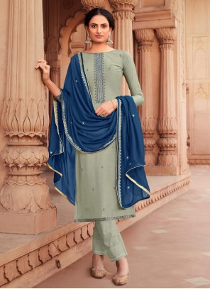 Embroidered Viscose Sea Green Pant Style Suit
