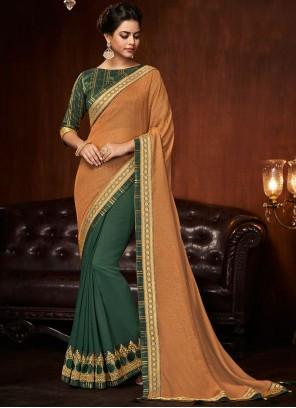 Green And Peach Embroidered Designer Half N Half Saree