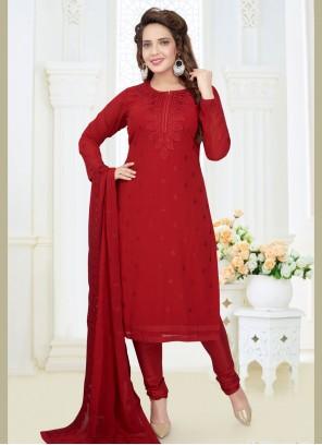 Red Embroidered Wedding Readymade Churidar Salwar Kameez