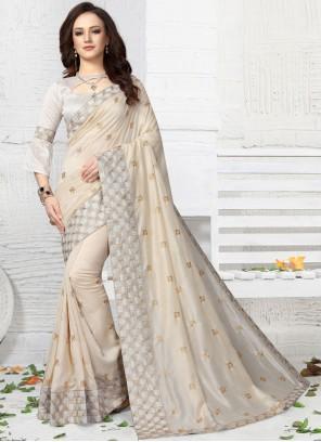 Embroidered White Designer Traditional Saree