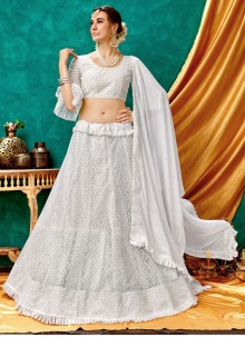 Embroidered White Net A Line Lehenga Choli