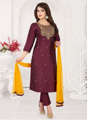 Embroidered Wine Art Silk Pant Style Suit