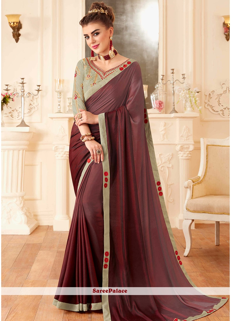 Embroidered Wine Classic Saree